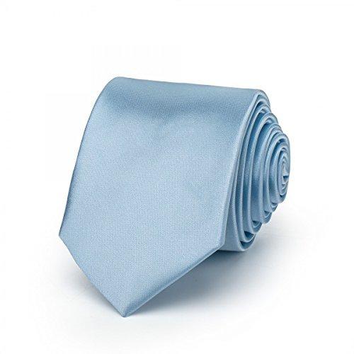 Rusty Bob - Krawatte schmal/dünn 3cm-5cm für Herren [auch für Kinder/Jungen] (uni,nicht gestreift) aus Polyester glänzt wie Seide - Hellblau