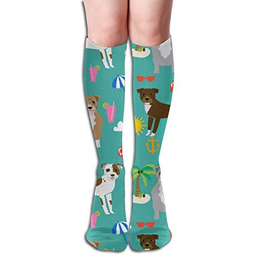 best gift Pitbull Beach Summer Dog Breed Pet Lover Pibbles Teal Men's Women's Cotton Crew Athletic Sock Running Socks Soccer Socks 19.7 inch Crazy Horse Gap