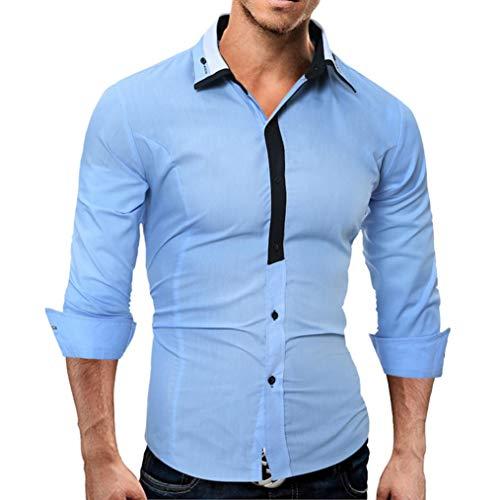 YunYoud Männer Shirt Fashion Einfarbig Männlichen Casual Langarm-Shirt Herrenhemden günstig Kariertes Hemd Modische Hemden holzfällerhemd Herren Button Down Online Bestellen