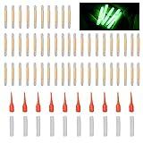 Einsgut Angeln Leuchtstäbe 50 stücke 4,5 x 37mm Mini Knicklichter Float Glow Stick Bissanzeiger Glowstick Nachtfischen Fluoreszierendes Licht