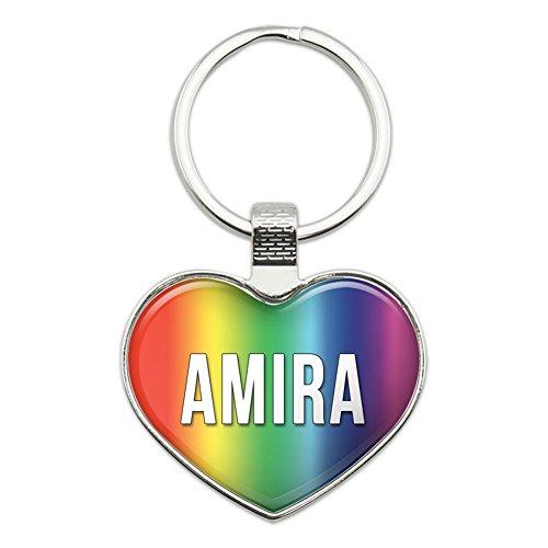 Preisvergleich Produktbild Metall Schlüsselanhänger Ring Rainbow I Love Herz Namen Buchse A Amar Amira