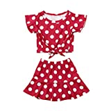 MEIbax Baby Kinder Mädchen Dot Bow Tops Print Rock Freizeitkleidung Outfits Set Kinderbekleidung Kleider Set Kinder Kleidung Sommer Outfits