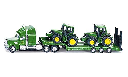 SIKU 1837, Tieflader mit 2 John Deere Traktoren, 1:87, Metall/Kunststoff, Grün, Klappbare Heckklappe - Deere Spielzeug Metall John