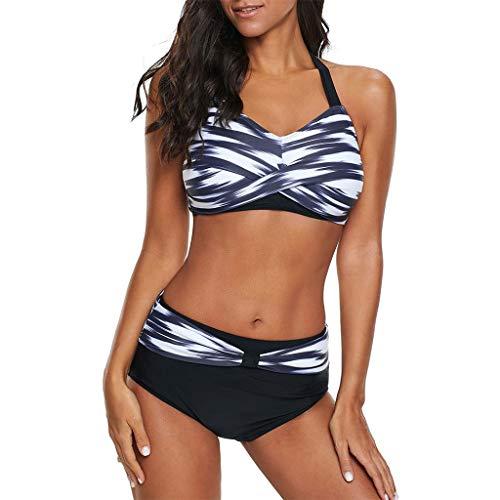 80257e5d0149b OIKAY Damen Bikini für Mollige Badeanzug Große Größen Polka Dots Push Up  Strand Bikini Set Bademode Bikinioberteil mit Nackenträger