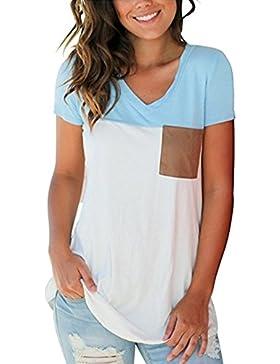 Magliette Classiche Donna Estate Scollo a V Blocco di Colore Casuale Manica Corta Superiore Top T-Shirt Magliette...