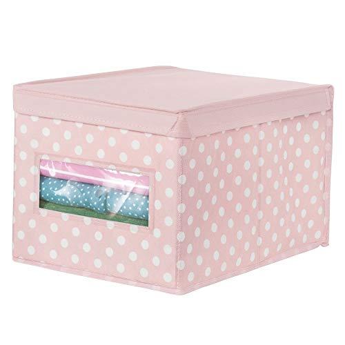 mDesign Caja organizadora grande de tela - Caja de almacenaje apilable con tapa y ventanilla - Para ordenar armarios o guardar ropa y zapatos - Organizador de armarios de lunares - rosa/blanco