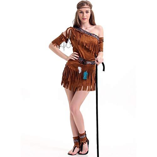 ZSJ~SW Damen führen Kostüme durch, Weil Halloween Indianer Kostüme Aboriginal Forest Hunter Savage (Color : Brown, Size : XL)