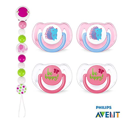 Philips Avent Tétine tendance//6-18 Mo//Girl Mix//Lot de 4//avec aufsteckbarer Hygiène Capuchon