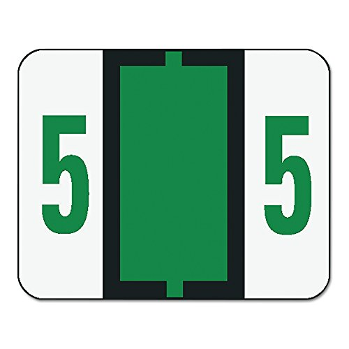 Single Digit End Tab Labels, Number 5, Dark Green-on-White, 500/Roll