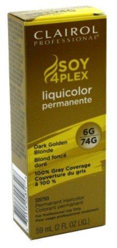 Clairol Colorant permanent Soy4Plex Liquicolor - Couverture du gris à 100% - Blond foncé doré 74G - 59 ml
