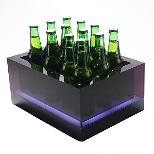WMM-Ice bucket LED-Licht Square Ice Bucket - Champagner, Bierfass - Wiederaufladbare Batterie - Bar, Nachtclub, Party (größe : 15 Bottles) Square Ice