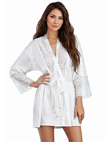 Dreamgirl Damen Satin Charmeuse Robe with Lace Trim Details Dessous, weiß, Mittel - Detail-robe