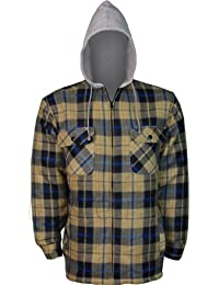 Hooded Thermal Full Fur Fleece Padded Quilted Lumberjack Shirt Jacket With Zip Front