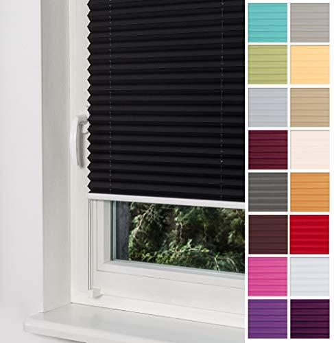 Home-Vision Premium Plissee Faltrollo ohne Bohren mit Klemmträger / -fix (Schwarz, B60cm x H120cm) Blickdicht Sonnenschutz Jalousie für Fenster & Tür