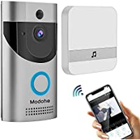 Modohe Wireless Doorbell 720P Video, HD COMS Sensor Two-Way Talk WiFi-Connected Doorbell