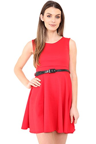 Get The Trend - Robe - Patineuse - Sans Manche - Femme red