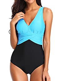 fdc43e78c4 Bettydom Plus Size Light Tummy Control Bikini Set Swimwear for Ladies Deep  V Backless Swimming Costume…
