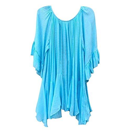 Damen Tunika Tops Sommer Kurzarm T-Shirt Oansatz T-Shirt Shirt Tops Sommer Bluse Boho Rüschen Shirts Schmetterlings-Ärmel Unregelmäßig Basic T-Shirt Tops Kurzarm - Schmetterling Kurzarm-bluse