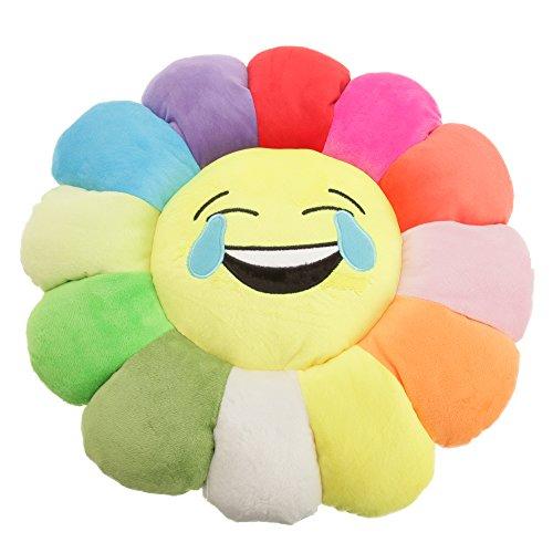 Kinder Sonnenblume Emoji Design Plüsch Kissen (Einheitsgröße) (Lachen mit Tränen)