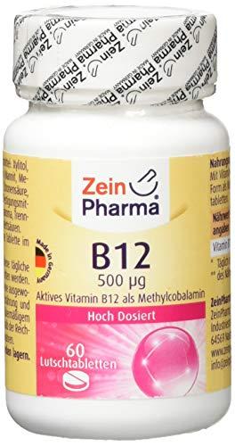 ZeinPharma Vitamin B12 Cobalamin 500 Microgram 60 Lutschtabletten (2 Monate Vorrat) beste Aufnahme über die Mundschleimhaut Hergestellt in Deutschland, 44 g -