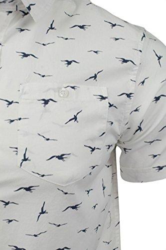 Herren Hemd von Brave Soul Vogeldruck, kurzärmlig Optic Weiß