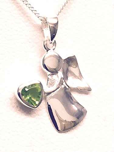 Sterling Silver Birthstone Guardian Angel Necklace - May