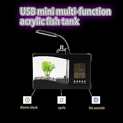 CamKpell Neue USB Desktop Mini Aquarium Aquarium LCD Timer Clock LED Lampe Licht schwarz Worldwide Store-schwarz