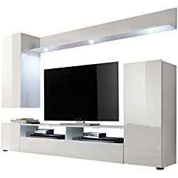 Maisonnerie 1396-945-01 Ensemble Meuble TV Design Dos Blanc Ultrabrillant LxHxP 208 x 165 x 33 cm