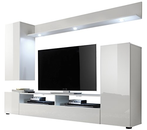Furnline Dos High Gloss TV Stand Wall Unit Living Room Furniture Set, White