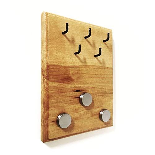 Buchenholz mit 5 Haken und 3 Magneten für Notizen (Unikat) ()