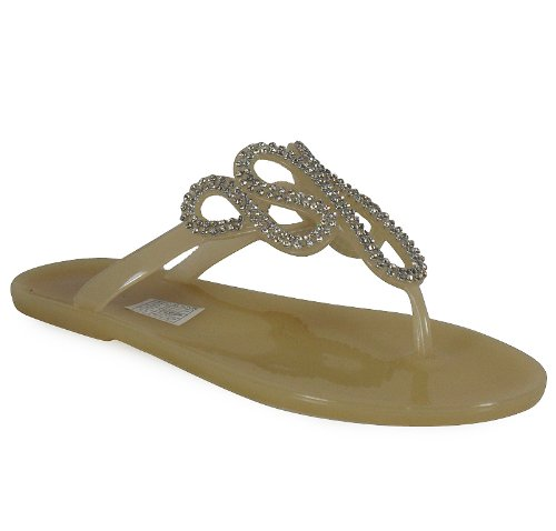 Loudlook Neuen Frauen Damen Jelly Gelees Buckle Toe-Post Wohnung Strand-Sommer-Sandalen Schuhe Gr??e 3-8 Khaki