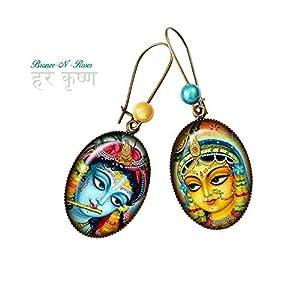 Ohrringe Radha und Krishna Cabochon blau Indien Bronze gelb Geschenk