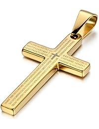 Jewelrywe Joyería pendiente del collar de la Cruz Hombres Mujeres, Colgante, la Oración del Señor, acero inoxidable, oro, cadena larga 54cm Disponible (con bolsa de regalo)