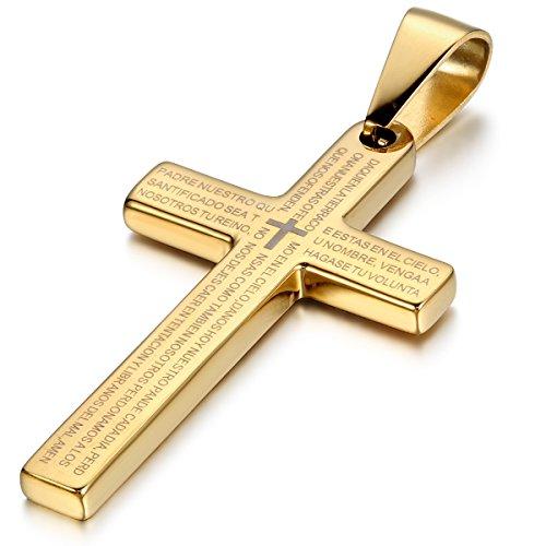 JewelryWe Schmuck Edelstahl Bibel Gebet Kreuz Anhänger mit 54cm Kette, Halskette für Herren Damen, Gold