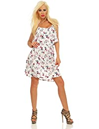 Fashion4Young 5498 Tailliertes Damen Mini Kleid Ärmellos Blumen Minikleid Spaghettiträger Sommerkleid Doublelayer Dress