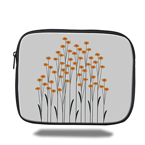 Tablet Bag for Ipad air 2/3/4/mini 9.7 inch,Flower Decor,Hand Drawn Yellow Daisies Like Flowers with Black Lines and Leaves Print,Yellow and Black,3D Print -