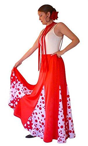 Spanische Flamenco rock - Flamencorock für Damen / Frauen - Rot weiß - L (Weiß Flamenco-rock)