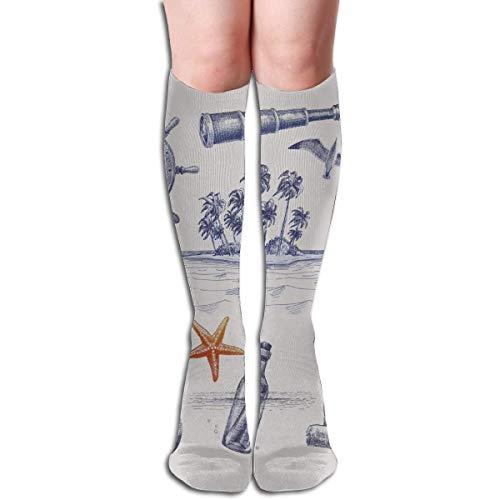 Xdevrbk Novelty Knee High Socks Navy Nautical Elements Outdoor Athletic Running Long Socks Unisex