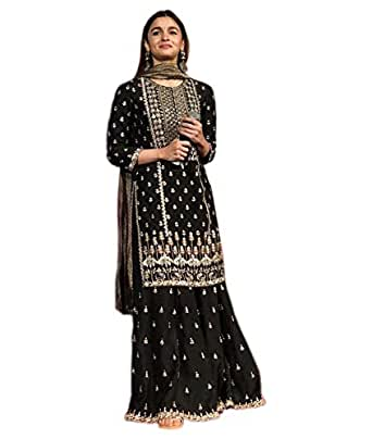 Ethnic Wings Women's Alia Bhatt kalank collection Georgette Embroidery Party Wear Salwar Suit (Black1)