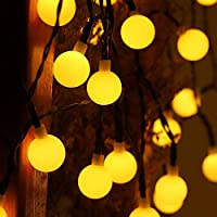 Gluckluz Solar String Lights Outdoor Fairy Lighting 30 LED Waterproof Warm Decoration Lamp for Indoor Home Bedroom Garden Party Festival Holiday Wedding (2 Packs, Globe Ball)