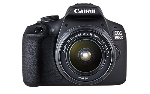 Canon EOS 2000D - Cámara réflex de 24.1 MP (CMOS, Escena inteligente automática, 9 puntos AF, filtros creativos, EOS Movie, Full HD LCD 3', WiFi/NFC) negro - Kit con objetivo EF-S 18-55mm IS II