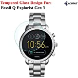 Acutas Tempered Glass For Fossil Q Explorist (Transparent)-Full Screen Coverage (Except Edges) With Easy Installation Kit