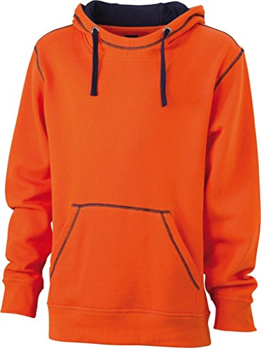 JAMES & NICHOLSON Sweatshirt a capuche contrasté orange foncé/marine
