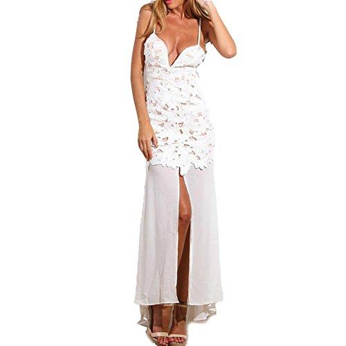 PU&PU Mode féminine décontractée / Sortie Mode Basse sans manches sangles Halter Maxi robe, fente latérale white
