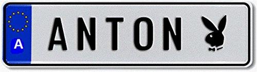 Namensschild zum Selbstgestalten und bedruckt ✓ Individuelles Nummernschild, Aluminium-Schild | Autoschild mit Namen & Spruch selbst gestalten und geprägt | Aluschild ✓ Kfz-Kennzeichen-Schilder ✓
