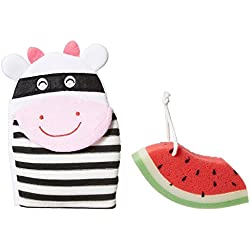 PANACHE KIDS Playful Bath Time Combo, Cartoon Bath Glove & Bath Loofah Sponge Watermelon.