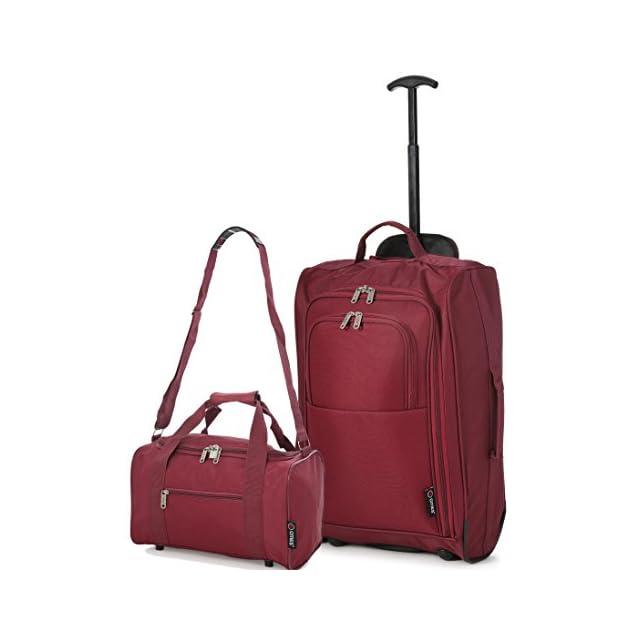 Ryanair Cabin 55x40x20cm Approuvé & Second 35x20x20 Main Luggage Set - Carry On les deux! (Du vin)