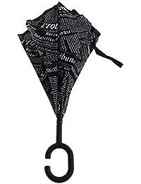 MagiDeal Windproof Reverse Folding Sun Rain Inverted Umbrella UV Protection Black Newspaper For Beach Outddor...
