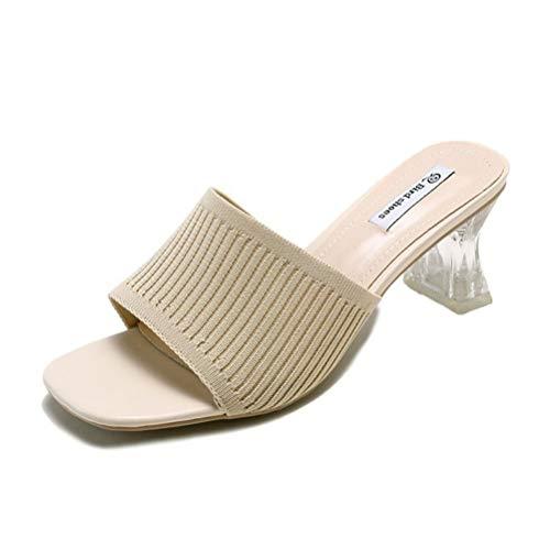 BIUU Frauen Low Mid Heel Slip auf Mule Sandalen Obermaterial gestrickt Mid Heels Hausschuhe Größe 35-39,Beige,37 Low Heel Slip