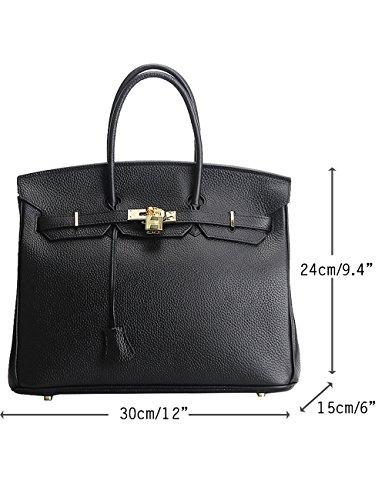 Menschwear Damen Echtes Leder Handtasche Elegant Taschen 35cm Grau Schwarz M